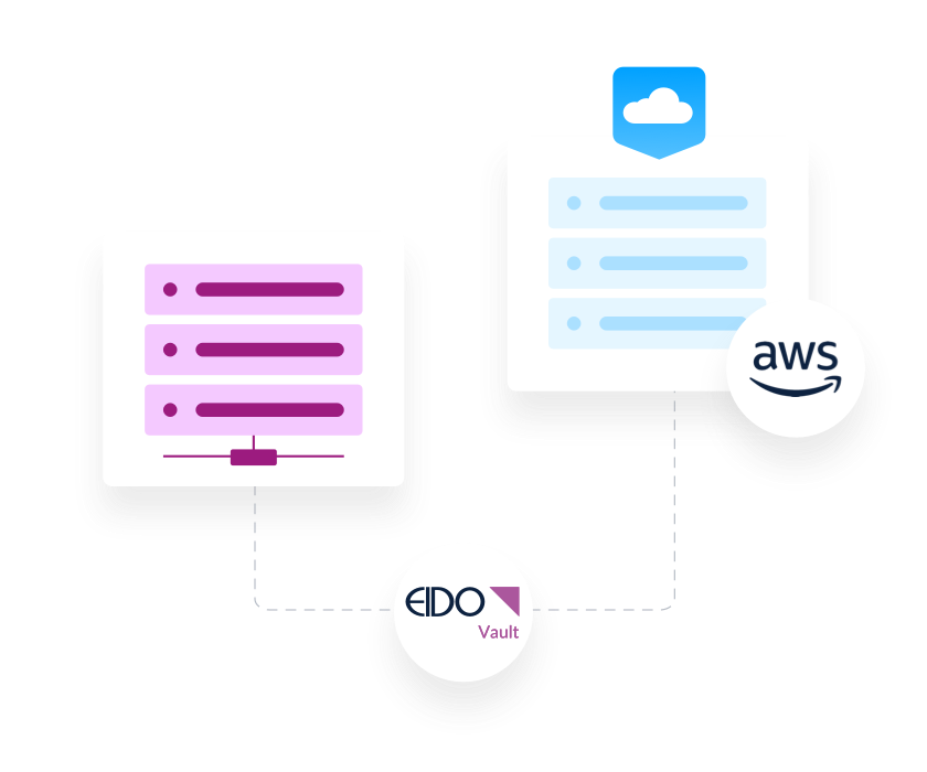 Graphic illustrating the potential integration of Eido's services with Amazon Web Services and the Cloud