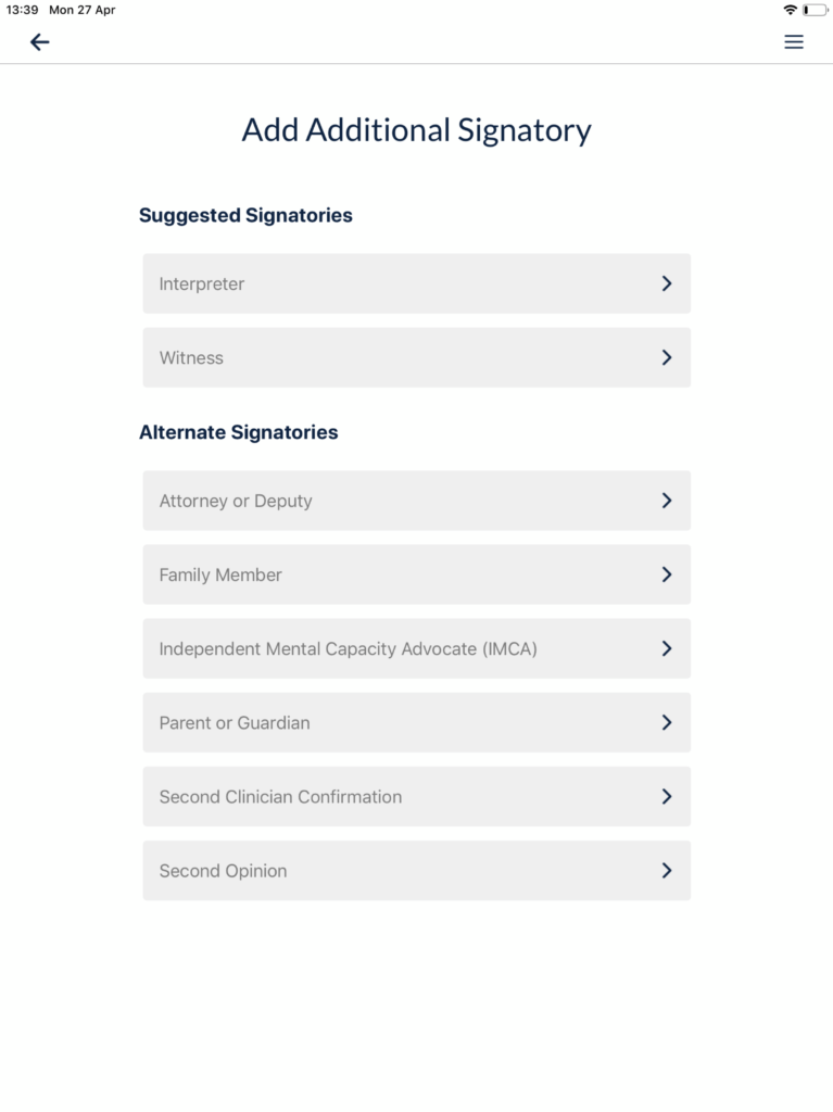 Additional Signatories
